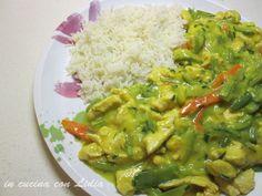 Tacchino allo zafferano verdure e riso basmati