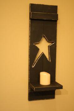 Primitive Black Distressed Star 24 in Wood by UniquePrimtiques, $20.00