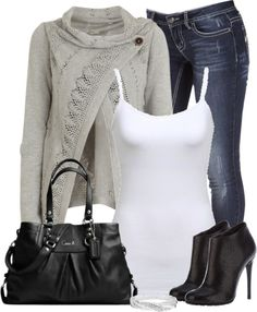 """Gray Button Sweater"" by denise-schmeltzer on Polyvore"
