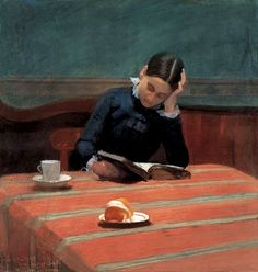 Edward William Stott ~ Reading by Gaslight ~ (English: 1859-1918)