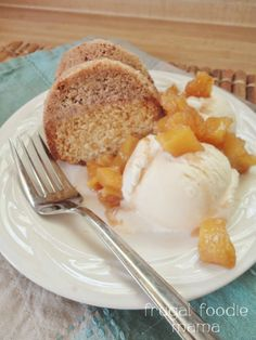 Brown Butter Sour Cream Crumb Cake with Roasted Pineapple Sauce