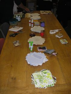 All the materials needed to make accordion notebooks at our special Repair Surgery demo