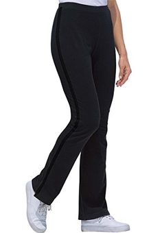 Women's Plus Size Petite Stretch Bootcut Yoga Pants With Side Stripes Black * For more information, visit image link. #YogaClothing