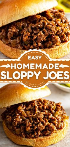 Learn how to make Sloppy Joes! Nothing beats this quick and easy dinner idea that is always a family-friendly option. Double this beef recipe if you have a crowd or want leftovers the next day… Easy Delicious Recipes, Unique Recipes, Easy Healthy Recipes, Quick Easy Meals, Tasty, Best Homemade Sloppy Joe Recipe, Homemade Sloppy Joes, Sloppy Joes Recipe, Loose Meat Sandwiches