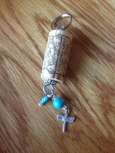 Recycled Wine Cork keychain with turquoise and dragonfly charm , handmade boho gift on Etsy, $3.50