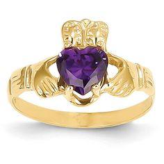 14k February Birthstone Claddagh Ring