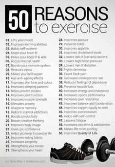 50 reasons to excersise. Need these reasons some days.