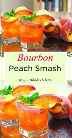 Here's my Peach Bourbon Smash recipe:INGREDIENTS for two Peach (or 2 apricots, or 2 plums, or 1 - Drinks & Cocktails - A-Z Finance Plan (For Life) Easy Alcoholic Drinks, Liquor Drinks, Bourbon Drinks, Bourbon Whiskey, Scotch Whiskey, Beverages, Peach Whiskey, Summer Bourbon Cocktails, Best Bar Drinks