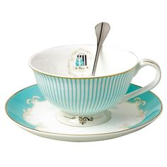 Amazon.com | Jusalpha Vintage Blue Bone China Teacup Spoon and Saucer Set TCS01: Cup & Saucer Sets