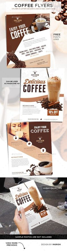 Buy Premium Coffee Flyers / Magazine Ad by ingridk on GraphicRiver. Coffee Flyers / Magazine Ad This Flyer comes in 3 different designs and letter and sizes,It is perfect for your Co. Design Set, Menu Design, Flyer Design, Print Design, Design Ideas, Envato Market, Coffee Course, Coffee Advertising, Caribou Coffee