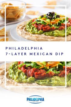 Layers and layers of winning. Bring this Philadelphia Mexican Dip to your game time get-together. 7 Layer Mexican Dip, Mexican Dips, Mexican Food Recipes, New Recipes, Cooking Recipes, Favorite Recipes, Healthy Recipes, Ethnic Recipes, Appetizer Dips