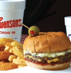 Swensons Drive In...burgers and shakes -- what a treat! Guys take your order at your car and bring it out on a tray that rests on the door/window down.