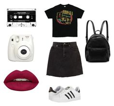 to concert📼 by kgolubevva on Polyvore featuring polyvore, fashion, style, adidas, STELLA McCARTNEY, Huda Beauty, Fujifilm, clothing, Summer, concert and summerstyle