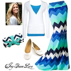 A fashion look from February 2013 featuring cotton cardigan, blue maxi skirt and strappy cami. Browse and shop related looks. Maxi Skirt Outfits, Modest Outfits, Modest Fashion, Fashion Outfits, Womens Fashion, Apostolic Fashion, Modest Clothing, Pretty Outfits, Cool Outfits