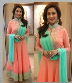 Fashion: Madhuri Dixit in Anarkali Suits and Sarees Pics 2014