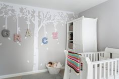 Grey and White nursery, Vinyl Impression tree sticker, Tutti Bambini Lucas furniture. Cloud Burst paint by Crown, by Interior Therapy.