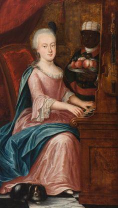 Fridericus Carolus de Hosson (Bad Bentheim 1718 - Oude Pekela 1799)  Elegante vrouw gezeten aan spinet met bediende
