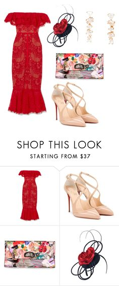 """""""Untitled #4414"""" by loveparis7 ❤ liked on Polyvore featuring Notte by Marchesa, Christian Louboutin, Scala and Kimberly McDonald"""