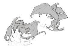 Creature Concept Art, Creature Design, Creature Drawings, Animal Drawings, Fantasy Beasts, Fantasy Art, Dragon Anatomy, Dragon Poses, Dragon Artwork