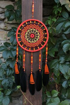 Dream catcher/ Bright dream catcher/ Orange by MyHappyDreams