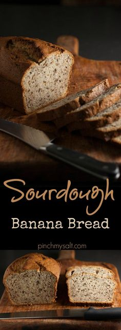 This is the best and easiest banana bread you'll ever make! This easy, moist sourdough banana bread recipe uses sourdough starter discard, which is perfect for when you feed your sourdough starter. The batter is mixed in a food processor and it is the easiest and most delicious banana bread recipe you've ever had! | http://pinchmysalt.com
