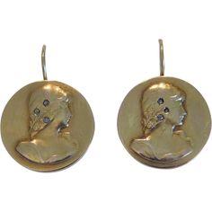 Art Nouveau earrings, yellow gold, ca. Vintage Earrings, Vintage Jewelry, Ruby Lane, Jewelry Collection, Art Nouveau, Jewels, Yellow, Antiques, Friends