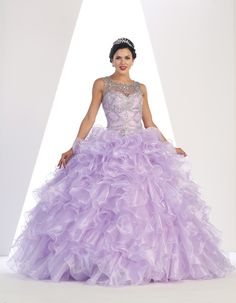 Sleeveless Rhinestone Organza Quinceanera/Sweet 16 Gown has an illusion neckline, rhinestone embroideries front & gorgeous back & ruffle organza material. Lavender Quinceanera Dresses, Quince Dresses, Formal Dresses, Quinceanera Ideas, Masquerade Ball Gowns, Wholesale Fashion, Homecoming Dresses, Fashion Dresses, Gorgeous Dress