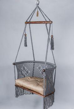 Macrame Hanging Chair, Macrame Chairs, Diy Hanging, Hanging Chairs, Swing Chairs, Bag Chairs, Room Chairs, Comfy Bedroom, Bedroom Decor