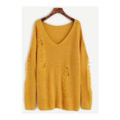 SheIn(sheinside) Yellow V Neck Drop Shoulder Ripped Sweater ($24) ❤ liked on Polyvore featuring tops, sweaters, yellow, loose pullover sweater, distressed sweater, sweater pullover, v neck pullover and ripped sweater