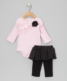 Pink & Black Ruffle Bodysuit & Skirted Leggings | Daily deals for moms, babies and kids