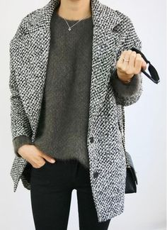Women's Grey Tweed Coat, Charcoal Fluffy Crew-neck Sweater, Black Skinny Jeans, Black Quilted Leather Crossbody Bag