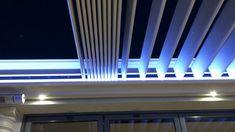 Louvretec ADI Retractable Opening Roof Outdoor Blinds, Bbq Area, Shades Blinds, Sun Shade, Facade, Louvre, Patio, Ideas, Umbrellas Parasols