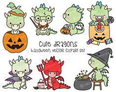 Premium Vector Clipart  Kawaii Halloween Dragons  Cute