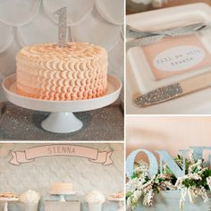 A Glitter-Filled, Silver and Peach First Birthday Party----  slideshow