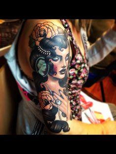 woman - gypsy   half sleeve