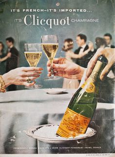 VeuveClicquotUK : It's French, it's imported, it's Clicquot champagne. Take a look at Veuve Clicquot Advertising circa 1960 Vintage Ads, Vintage Posters, Champagne Taste, Champagne Images, Champagne Region, Blue Fruits, Veuve Clicquot, Yummy Drinks, White Wine
