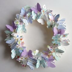 Paper Butterfly wreath- cute - a good reason to get a cricut - Crafts Journal Wreath Crafts, Diy Wreath, Paper Wreaths, Diy And Crafts, Crafts For Kids, Arts And Crafts, Paper Butterflies, Paper Flowers, Cloth Flowers
