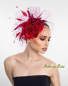 Satin Silk Rose Fascinator cocktail hat Rose by ArturoRios on Etsy, $185.00