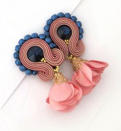 Summer trends Powder pink earrings soutache earrings soutache flower earrings pale pink clip on earrings soutache ohrringe clip on earrings Pink Necklace, Pink Earrings, Girls Earrings, Flower Earrings, Clip On Earrings, Bead Embroidered Bracelet, Silk Thread Necklace, Handmade Necklaces, Handmade Jewelry