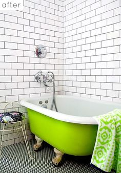 Penny round tiles w/black grout...lime green claw footed tub...subway tiles w/black grout...what is not to love!!!