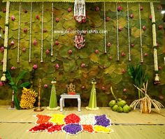 Traditional and colorful background decor adding simple natural element to decor. - Traditional and colorful background decor adding simple natural element to decor make it the perfec - Housewarming Decorations, Diy Diwali Decorations, Backdrop Decorations, Flower Decorations, Backdrop Design, Festival Decorations, Backdrops, Desi Wedding Decor, Wedding Hall Decorations