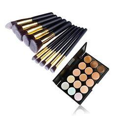 INFINIT121 10pcs Gold Tube Black Handle Cosmetic Makeup Brush Set and 15 Colors Concealer -- Visit the image link more details.
