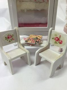 Childrens Chairs and Table books-miniature by RibbonwoodCottage