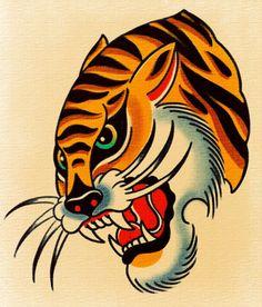 Doodle Tattoo, Tiger Tattoo, Traditional Flash, American Traditional, Desenhos Old School, Old School Tattoo Designs, Traditional Tattoo Design, Gold Tattoo, Tatuagem Old School