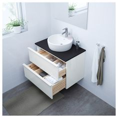 IKEA - HEMNES, Bathroom vanity, gray, Smooth-running and soft-closing drawers with pull-out stop. You can easily see and reach your things because the drawers pull out fully. Two people are needed to assemble this furniture. Bathroom Mixer Taps, Ikea Bathroom, Small Bathroom, Washing Machine And Dryer, Wash Stand, White Vanity Bathroom, Vanity Sink, Bathroom Vanities, At Home Furniture Store