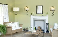 Elegant Sitting Room in Farrow and Ball Churlish green Contemporary Design, Modern Design, Green Paint Colors, Living Spaces, Living Room, Green Rooms, Interior Walls, Interior Inspiration, Decorating Your Home