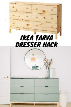 I love a good DIY project and this IKEA Tarva Dresser Hack is so easy and has the most beautiful end result. We put together this dresser for our nursery. home diy DIY IKEA Tarva Dresser Hack - Get Kamfortable Ikea Tarva Dresser, Ikea Dresser Makeover, Nursery Dresser, Ikea Hack Rast, Ikea Hack Nightstand, Ikea Furniture Makeover, Ikea Nursery, Ikea Hack Bench, Ikea Hack Bathroom