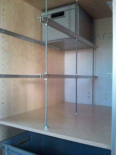Cupboard with rails 3 (Large) .jpg - Cupboard with rails 3 (Large) . Steyr, Van Storage, Garage Storage, Cargo Trailers, Camper Trailers, Box Shelves, Shelving, Camping Hacks, Motorhome