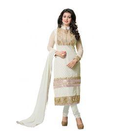 Prerana White Beauty Unstitched Dress Material