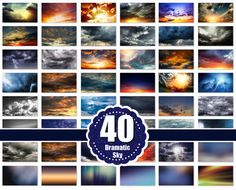 40 Dramatic sky Overlays jpg file by MrOverlay on @creativemarket